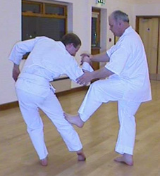 Roger Sheldon, founder of Shinseido, demonstrating a typical Shorin Ryu kick on Mike Flanagan